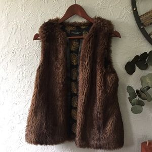 Sanctuary Vegan fur & Leather Vest with pockets